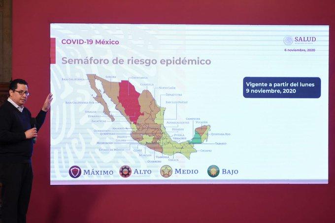 Así será el semáforo epidemiológico en México del 9 al 15 de noviembre