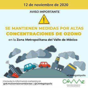 Continúan las medidas por altas concentraciones de ozono en la zona metropolitana del valle de México