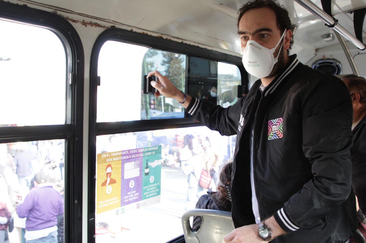 SEMOVI inicia recorridos de salubridad en el transporte público.