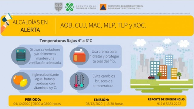 Se activa alerta amarilla por bajas temperaturas en la Ciudad de México
