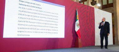 Presidente llama a los mexicanos a actuar con responsabilidad y evitar reuniones en diciembre