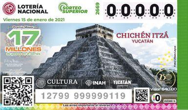 Próximo Sorteo Superior de la Lotería Nacional será dedicado al Castillo de Chichén Itzá
