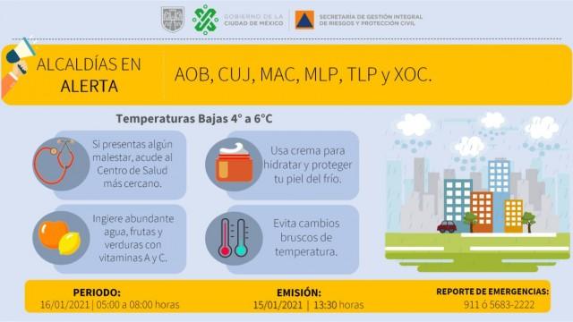 Se activa alerta amarilla por temperaturas bajas en la capital del país