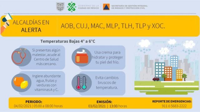 Se activa Alerta Amarilla por pronóstico de temperaturas bajas en 7 alcaldías