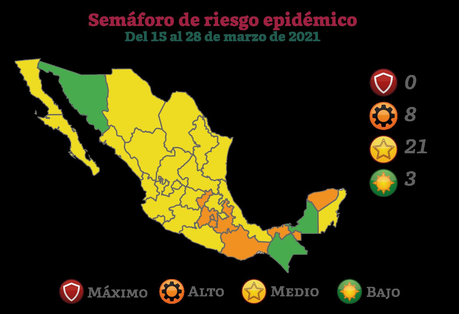 Ninguna entidad en rojo y Sonora pasa a verde, así será  el semáforo epidemiológico del 15  al 28 de marzo
