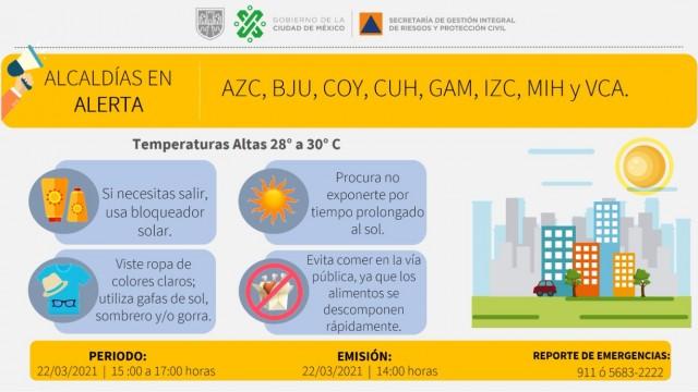Se activa alerta amarilla en 8 alcaldías por pronóstico de altas temperaturas
