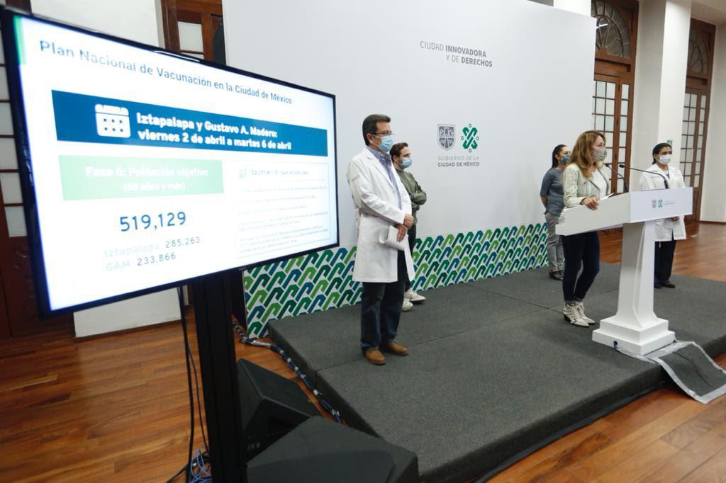 Mañana inicia Fase VI del Plan Nacional de Vacunación en Álvaro Obregón, Benito Juárez y Cuauhtémoc, y el viernes 2 de abril en Iztapalapa y Gustavo A. Madero