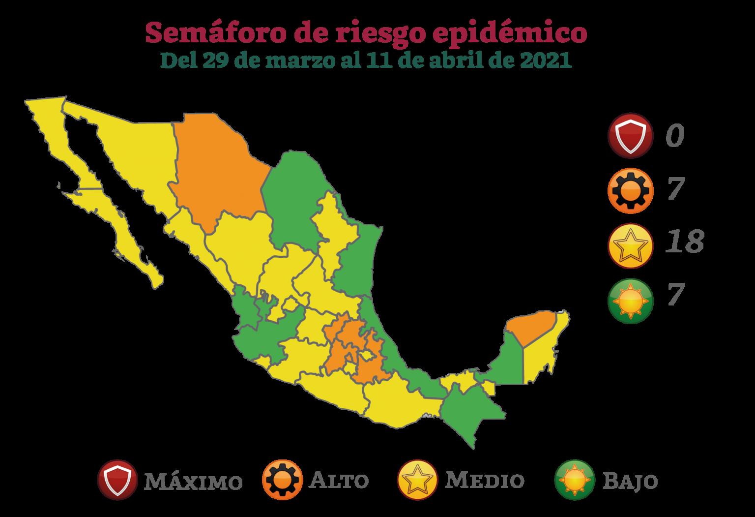 Ninguna entidad  en color rojo y 7 en verde, así será  el semáforo epidemiológico del 29 de marzo al 11 de abril