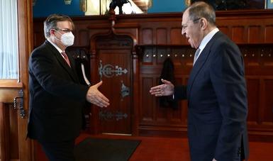 Se reúne Marcelo Ebrard con el ministro de Asuntos Exteriores, Serguéi Lavrov en Moscú