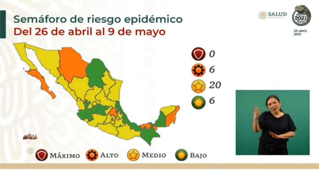 20  Entidades en amarillo, 6 en verde y naranja, asi sera el semáforo epidemiológico del 26 de abril al 9 de mayo