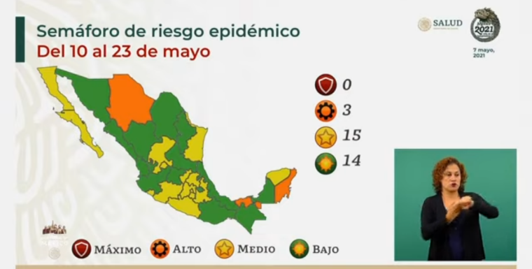 14 entidades en verde y 15 en amarillo, así será el Semáforo Epidemiológico del 10 al 23 de mayo