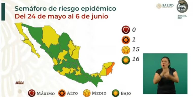 Mitad del país en verde, así será el Semáforo de Riesgo Epidémico, vigente del 24 de mayo al 6 de junio