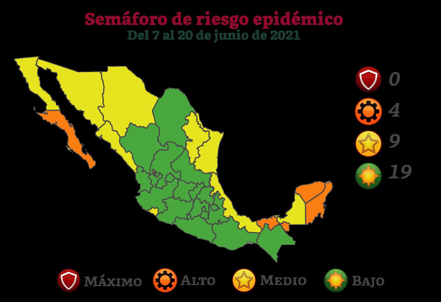 Gran parte del país en verde, así será el Semáforo de Riesgo Epidémico, vigente del 7 al 20 de junio