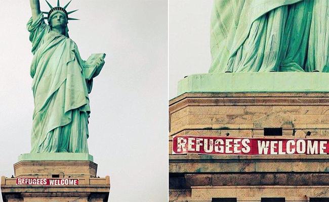 Bienvenidos refugiados, así saluda la Estatua de la Libertad