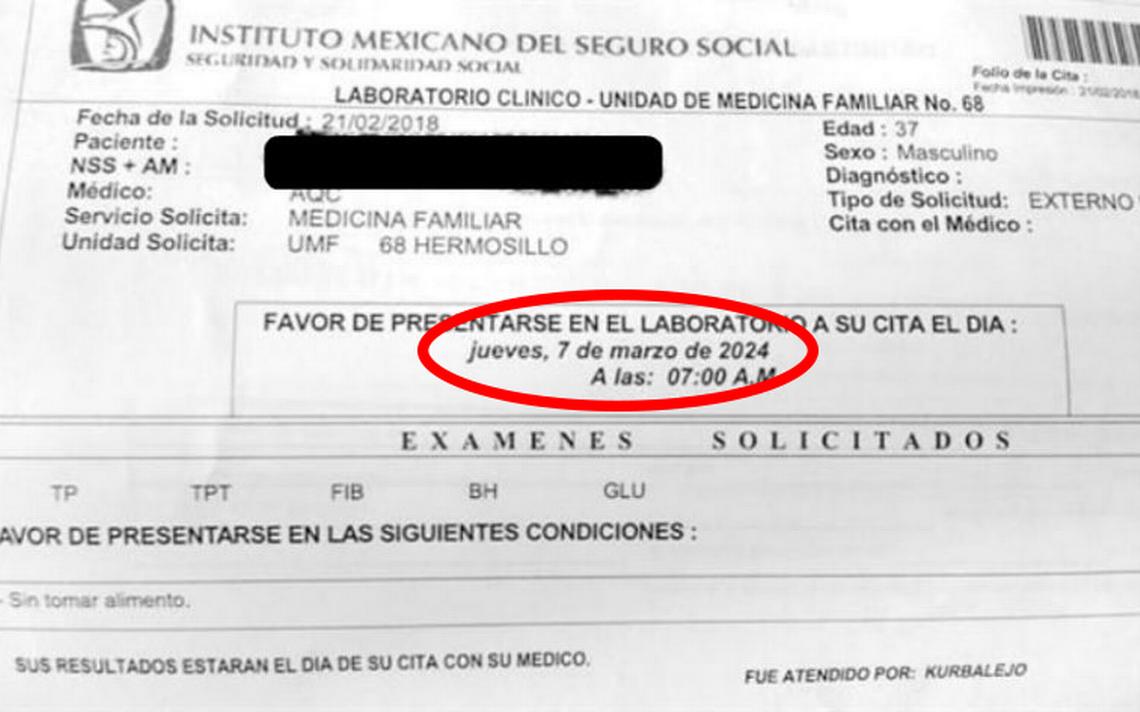 IMSS Sonora da a paciente cita de laboratorio ¡para el 2024!