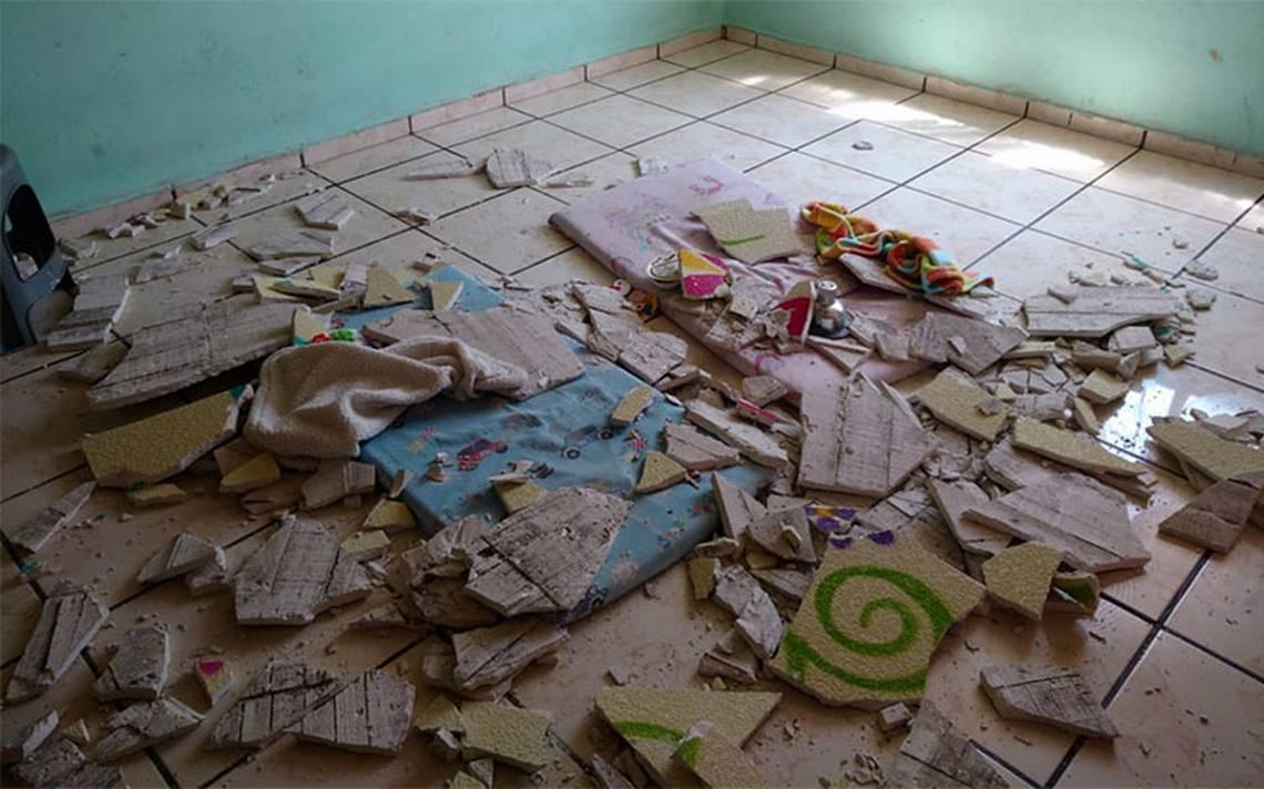 Menores resultan lesionados al caerles plafón en guardería infantil