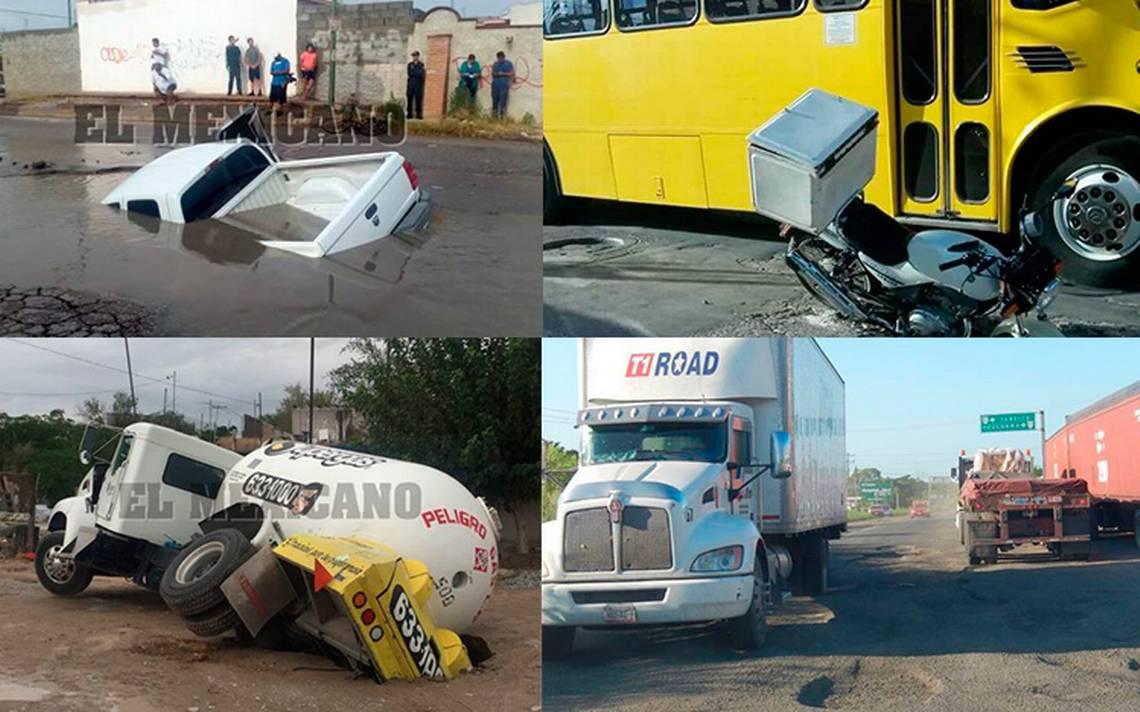 Jueves de accidentes viales por desquiciantes baches y hundimientos en el país