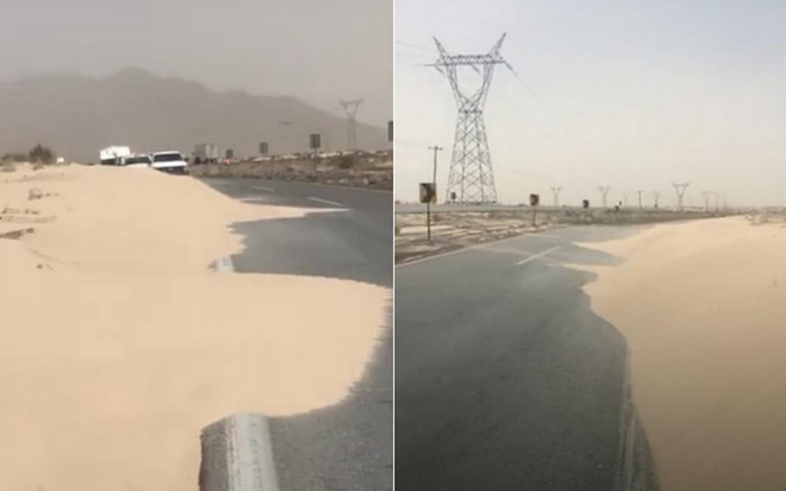 Fuertes vientos cubren con arena carretera en Cd. Juárez
