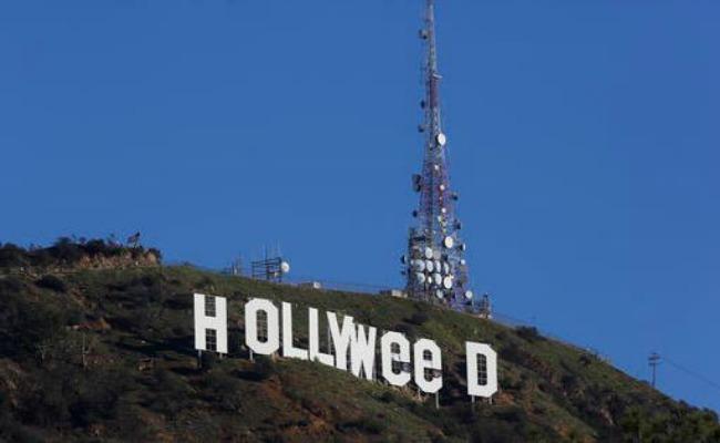 Vandalizan letrero de Hollywood en alusión a la marihuana