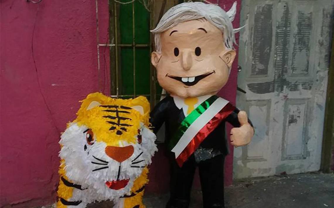 Ahora AMLO amenizará las fiestas, con todo y tigre, ¡en forma de piñata!