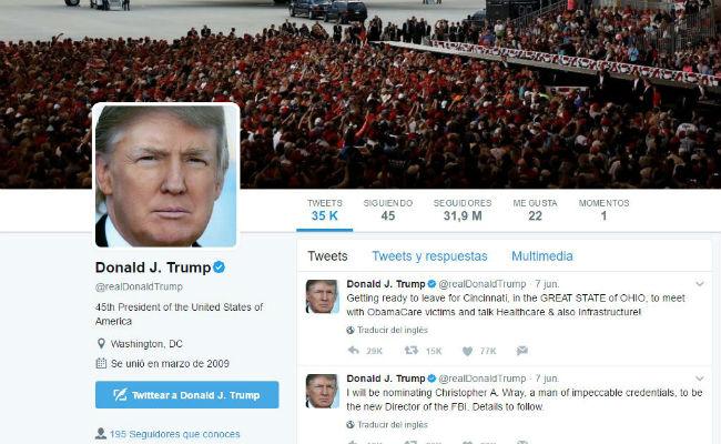 Trump calla en Twitter pese acusaciones de James Comey