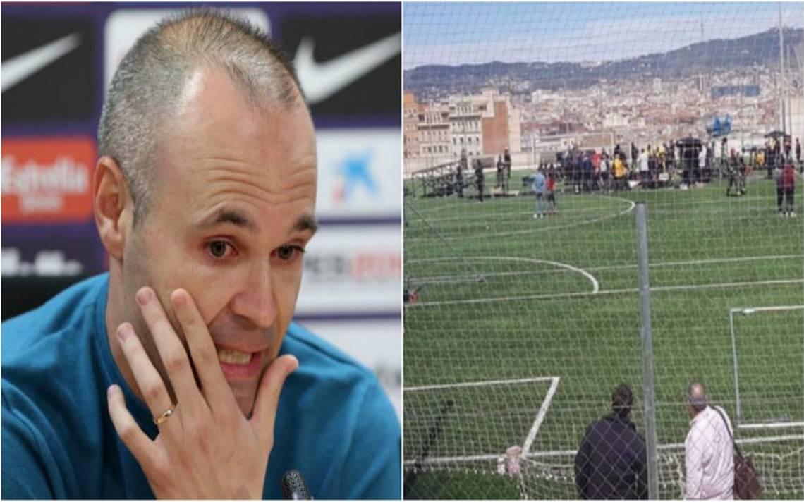 Once heridos deja derrumbe de grada mientras entrevistaban a Iniesta