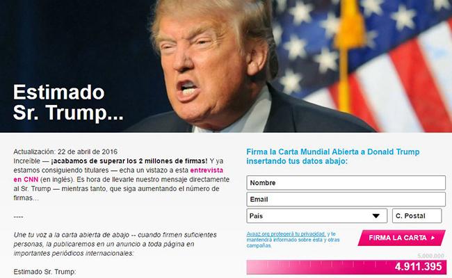 Casi 5 millones de personas han firmado iniciativa contra Trump