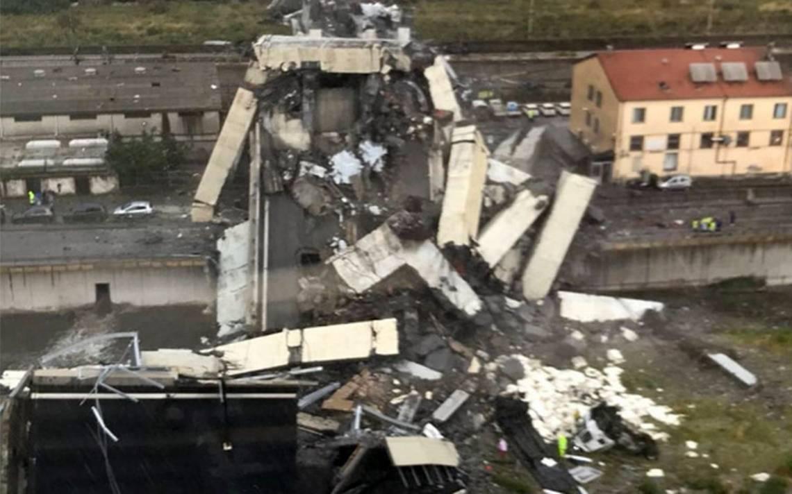 Colapsa parte de un puente en Génova; reportan 22 muertos