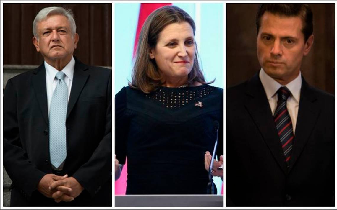 Chrystia Freeland visitará México para reunirse con AMLO y Peña Nieto