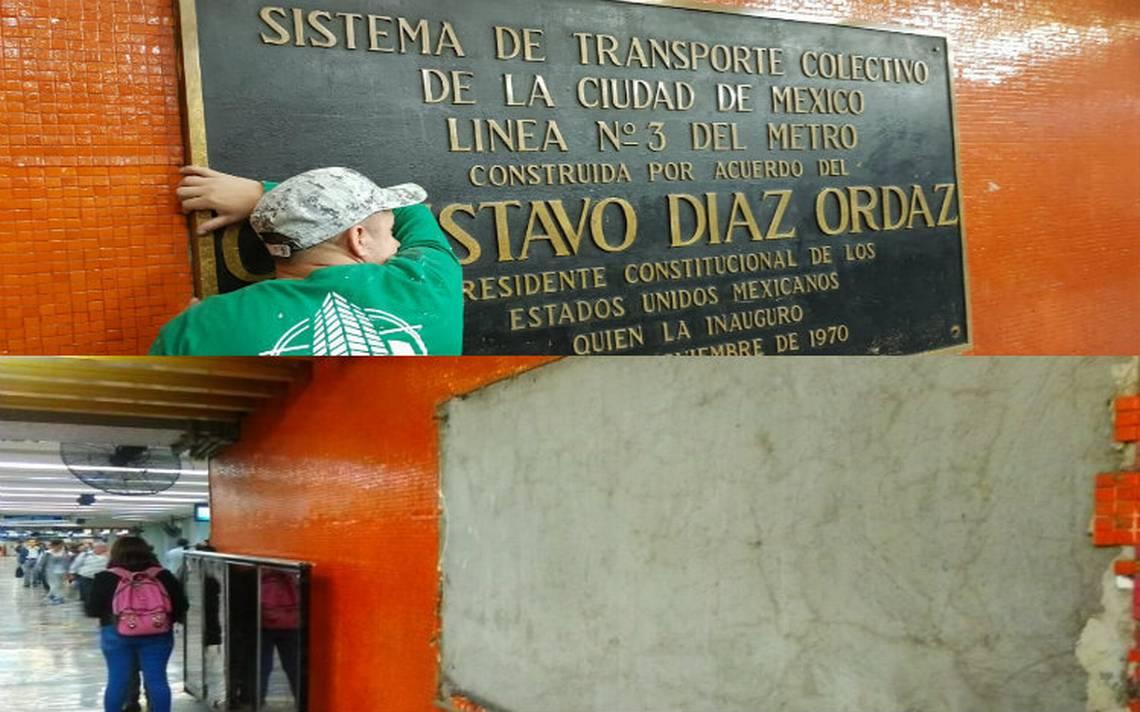 A 50 años del 68, retiran del Metro cada placa de Díaz Ordaz