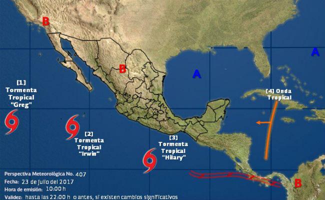 Se forman en el Pacífico las tormentas tropicales Hilary e Irwin
