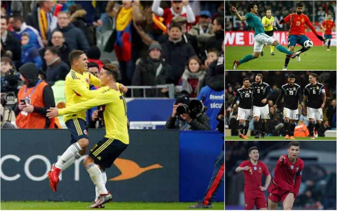 Colombia sorprende en París, España y Alemania empatan y Argentina sin Messi gana a Italia