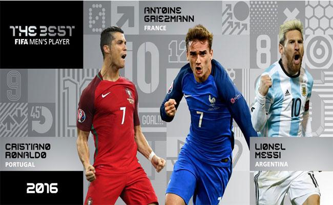 Messi, Cristiano y Griezmann, finalistas del premio The Best
