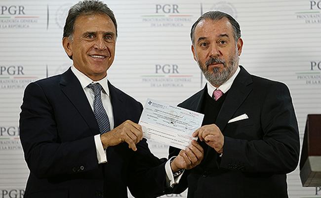 Yunes recibe de PGR más de 171 mdp desviados por Duarte