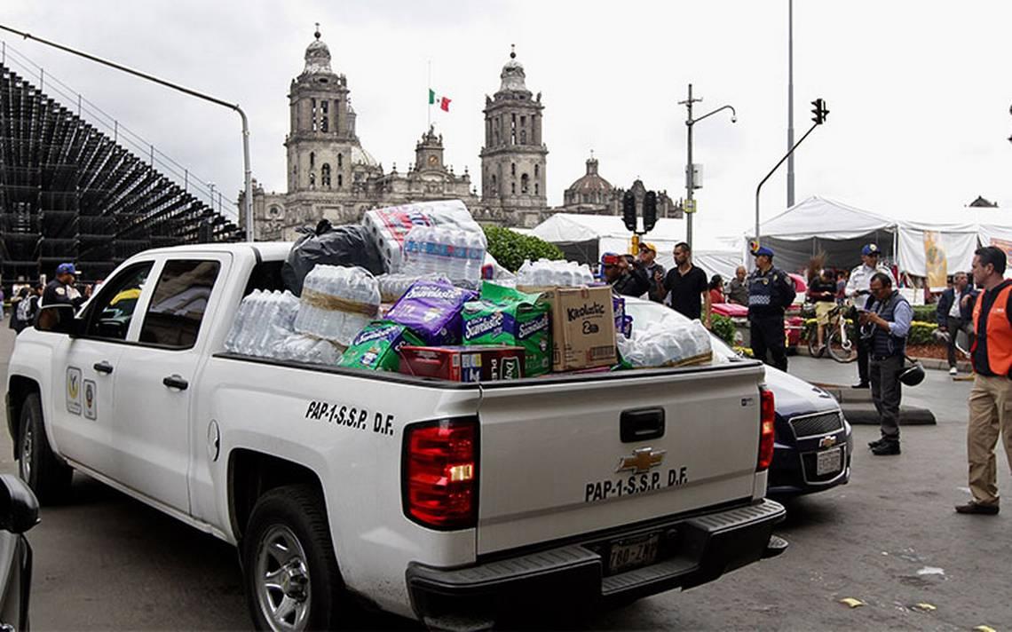 Capitalinos reúnen 31 toneladas de víveres para damnificados por sismo