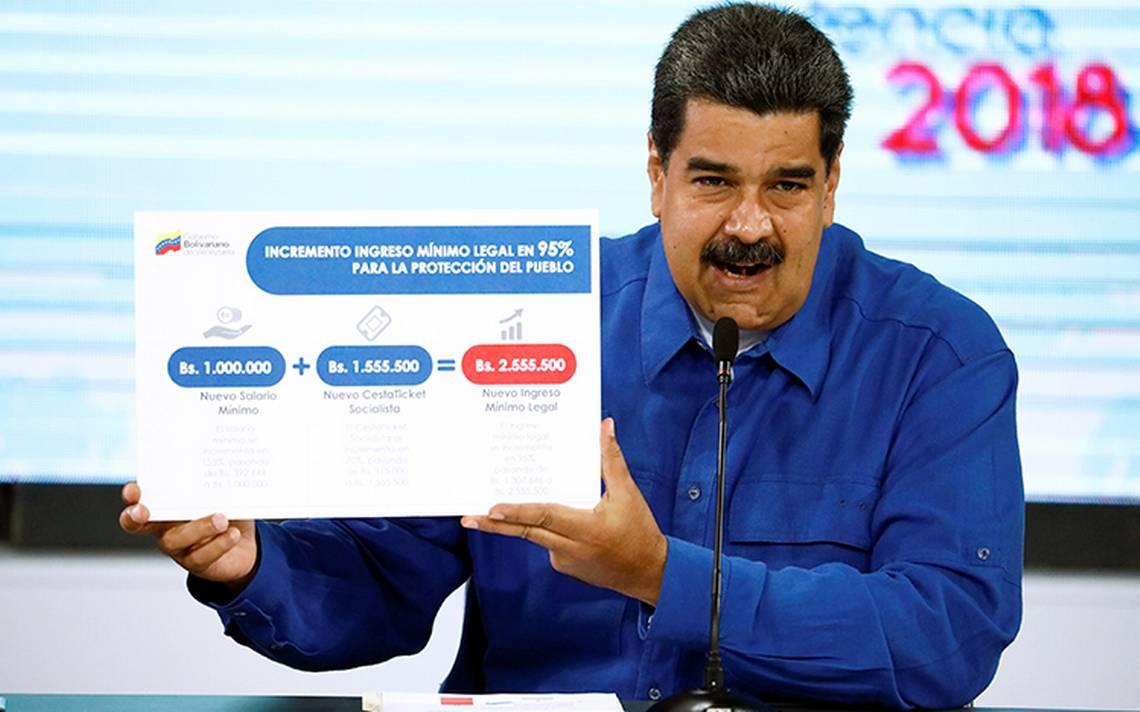 Maduro sube salario mA�nimo a un millA?n de bolA�vares previo a elecciones en Venezuela