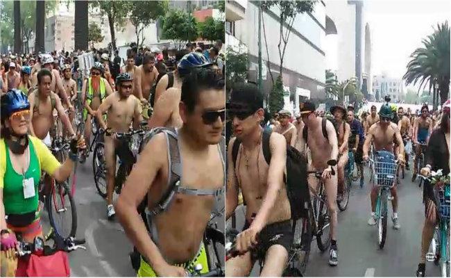 [Video] Desnudos y con body paint, ciclistas invaden calles de la CDMX