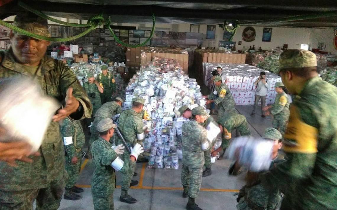 Sedena refuerza abastecimiento de víveres a damnificados de sismo
