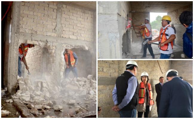 Inicia demolición de pisos en construcciones irregulares en CDMX
