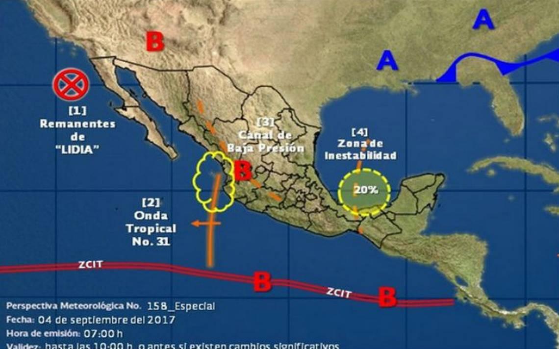 """Remanentes de """"Lidia"""" y zona de inestabilidad generarán más lluvias en el país"""