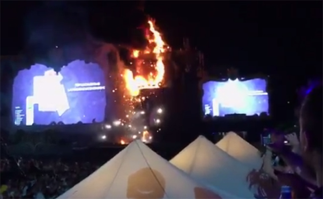 [Videos] Se incendia escenario de Tomorrowland en Barcelona