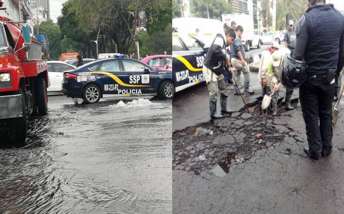 Fuga de agua levanta pavimento sobre Ejército Nacional y Moliere