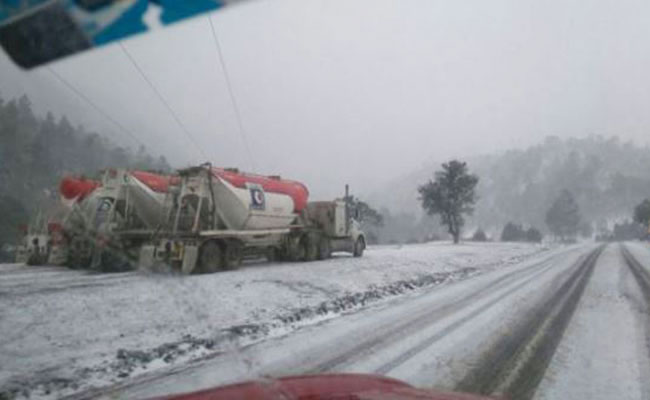Nieve pinta de blanco a la Sierra Tarahumara