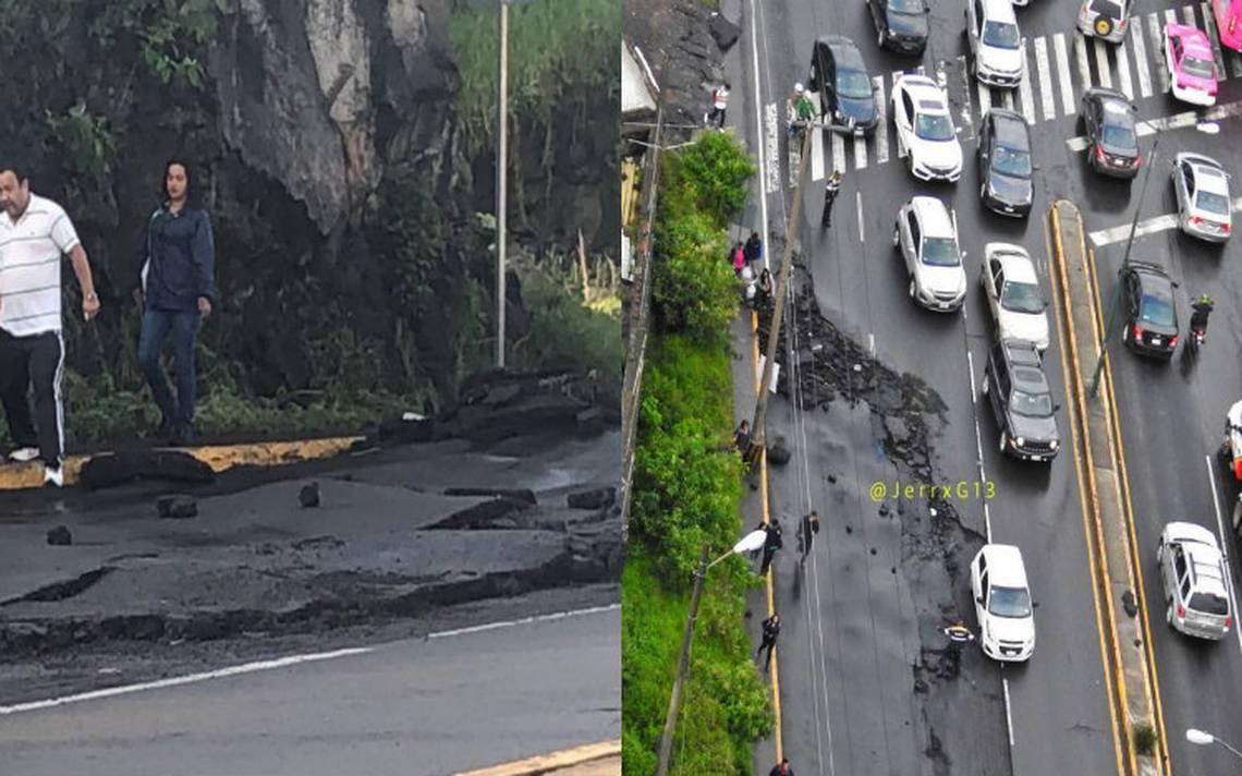 Inundación provoca levantamiento de asfalto en la Picacho-Ajusco