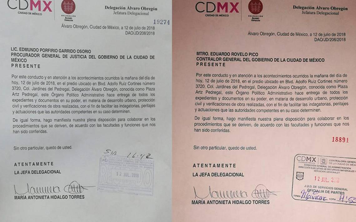 Delegación Álvaro Obregón entrega a autoridades documentos sobre plaza Artz Pedregal