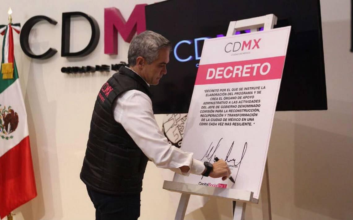 Mancera firma decreto para la reconstrucción y recuperación de la CDMX