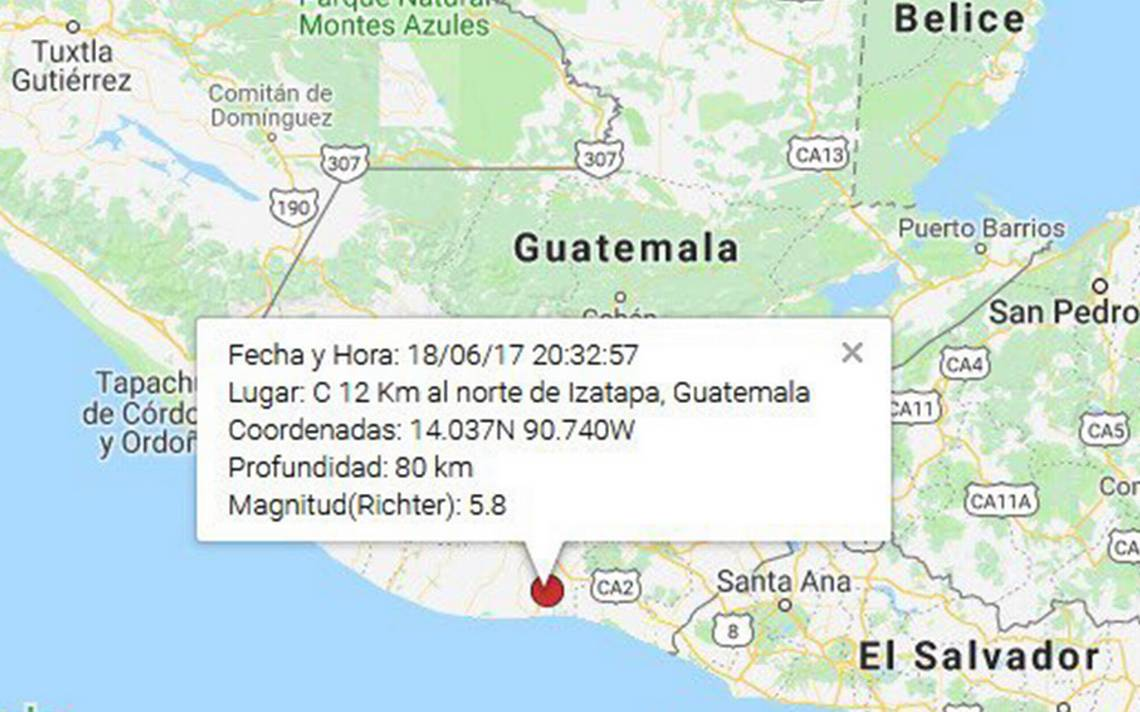 Guatemala se estremece de nuevo, ahora por sismo de magnitud 5.8