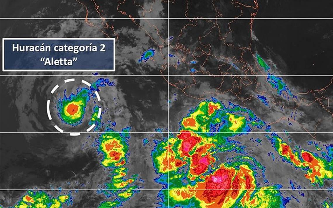 Huracán Aletta se debilita a categoría 2 en el océano Pacífico