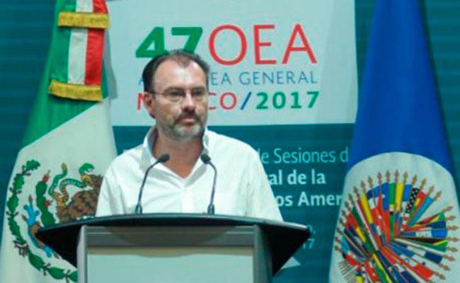 Eligen a Videgaray, por aclamación, como presidente de Asamblea General de OEA
