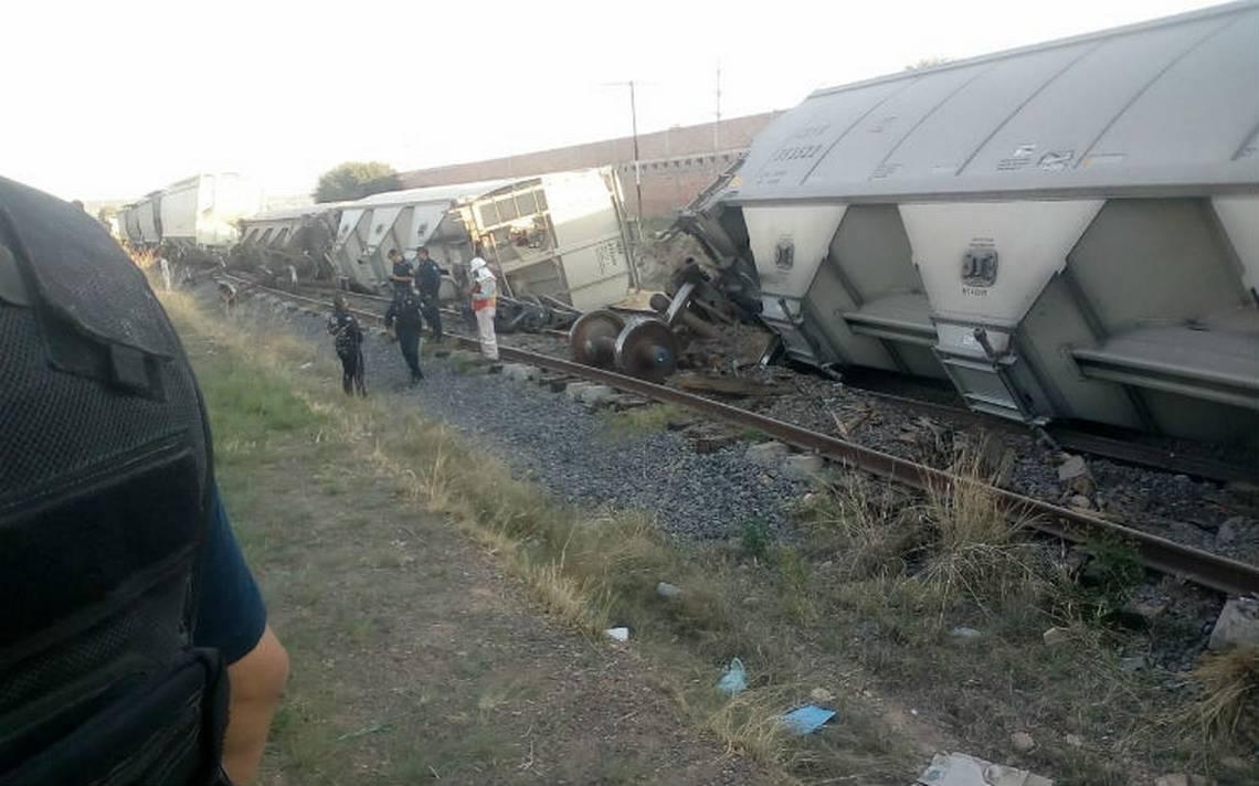 Descarrilan cinco vagones del tren que transportaban granos en Aguascalientes